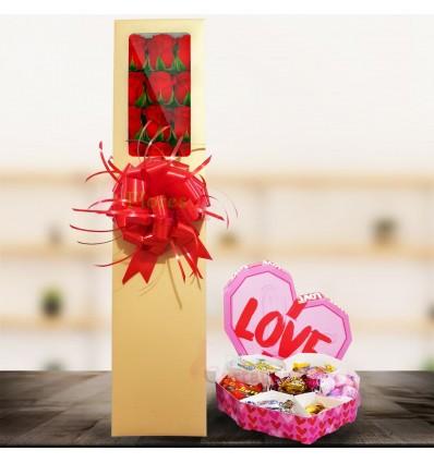 Caja de rosas dulce amor
