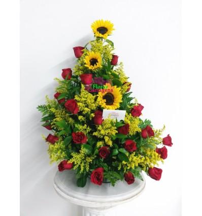 3 Girasoles y Rosas