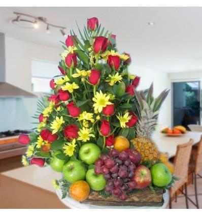 Frutero Canasta Rosas y Margaritas