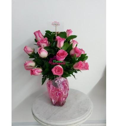 Jarron Rosado de Rosas