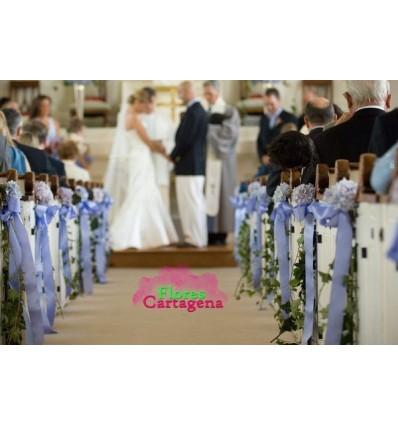Decoracion de boda con flores azules