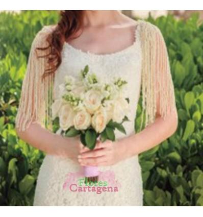 Yugo de novia en rosas blancas y bocadragon